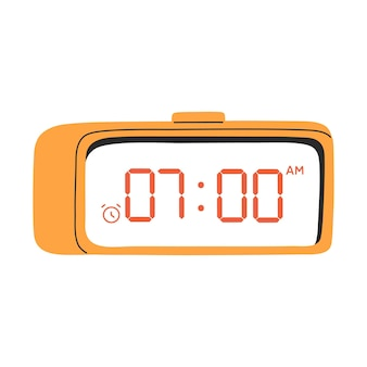Led digital alarm clock yellow color illustration