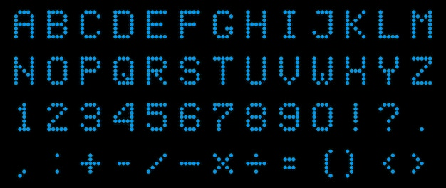 Led digital alphabet, font, electronic number.