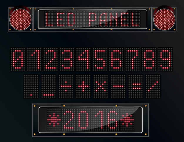 Led digital panel figure on black background