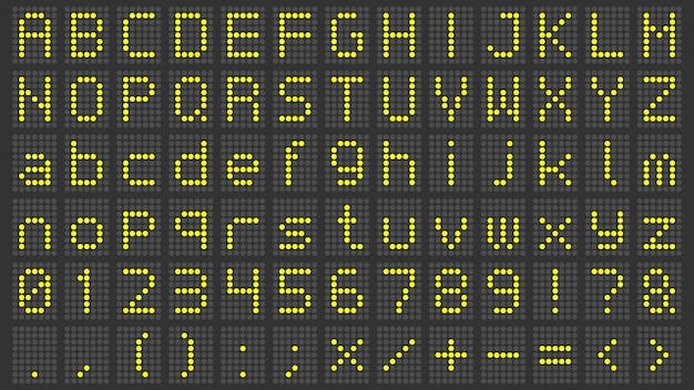 Led display font. digital scoreboard alphabet, electronic sign numbers and airport electric screen letters  set