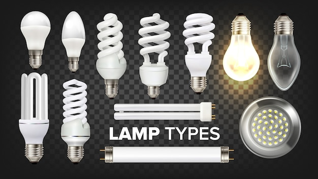 Led, fluorescent and incandescent lamps set