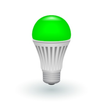 Led green economical light bulb isolated
