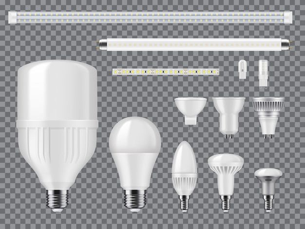 Led and halogen light bulbs, linear lamps and strips mockup. realistic vector modern ligtbulbs with diodes, screw and pin type bases, heat sinks and matted glass. high efficient, eco illumination tech