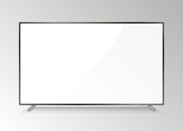 液晶テレビ画面。現代のテレビディスプレイ孤立したledモニター。白い画面でホームhdtvプラズマ。高解像度の現実的なメディア機器機器プレゼンテーションコンピューターモニター。