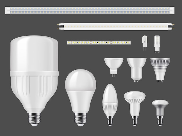Led lamps and light strips mockup