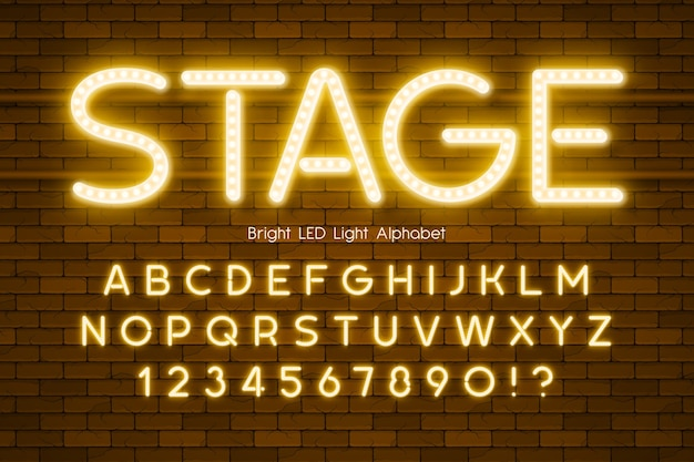 Led light 3d alphabet, extra glowing modern type. swatch color control.