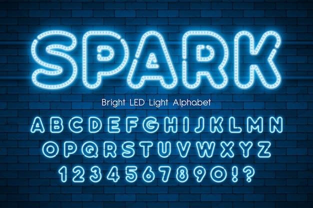 Led light 3d alphabet, extra glowing modern type.