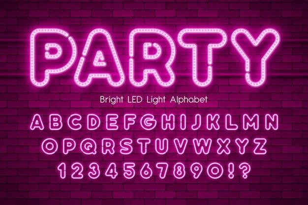 Led 조명 3d 알파벳, 여분의 빛나는 현대 유형.