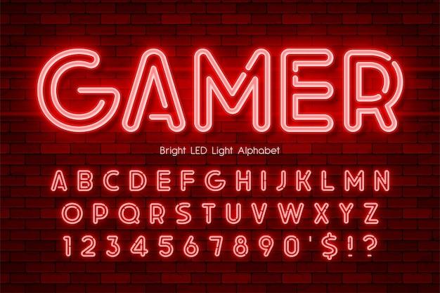 Светодиодный светильник 3d алфавит, неоновый светящийся современный тип. контроль цвета образца