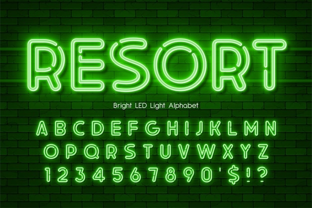 Led light 3d alphabet, neon extra glowing modern type. swatch color control.