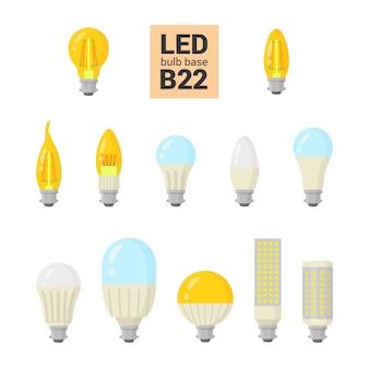 Led light bulbs colorful icon set