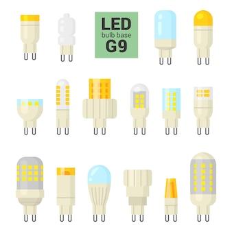 G9ベースのled電球、白い背景にカラフルなセット