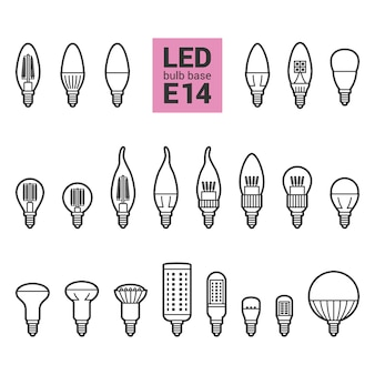 Led light e14 bulbs outline icon set