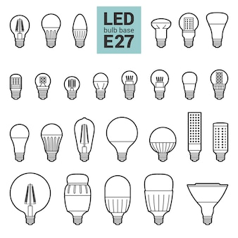 Led light e27 bulbs  outline icon set