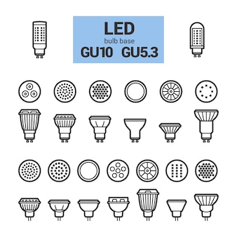 Led light gu10 bulbs vector outline icon set