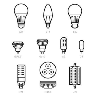 Led light lamp bulbs vector outline icon set
