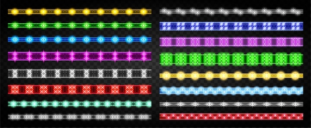 Ledライトストリップ分離現実的な設定アイコン。現実的な設定アイコン光リボン。イラストは、白い背景の上のストリップを導いた。
