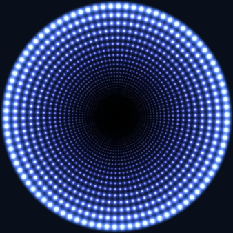 Led mirror abstract round background. blue blazing lights fading to the center.