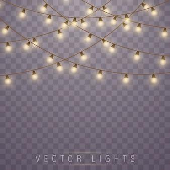 ネオンランプを導いた。クリスマスホリデーカードの白熱灯。