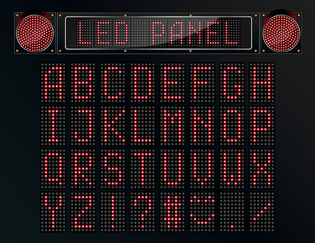 Led panel digital font on black background