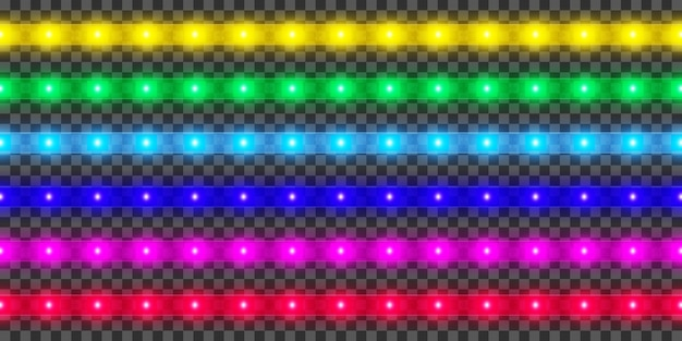 Led strip collection. colorful glowing illuminated tape decoration. realistic neon lights.