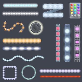 Led strip lights icons set. cartoon set of led strip lights vector icons