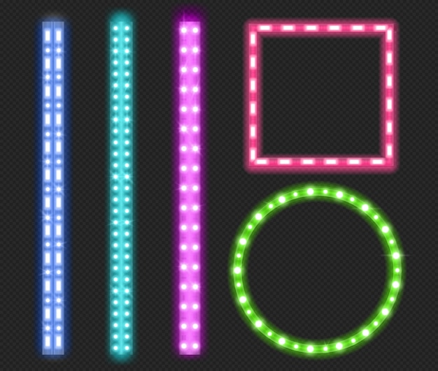 Led strips, neon light ribbons, borders and frames