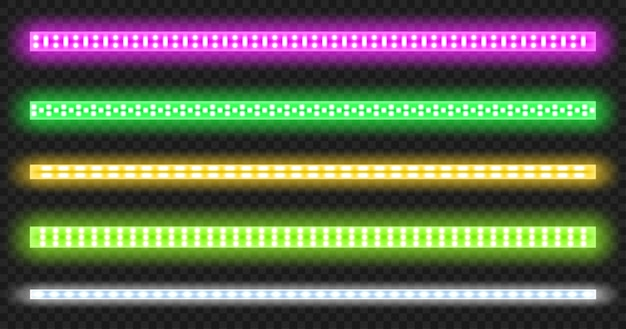 Led strips with neon glow effect isolated on transparent background.