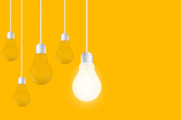 黄色の背景、led電球の電球。