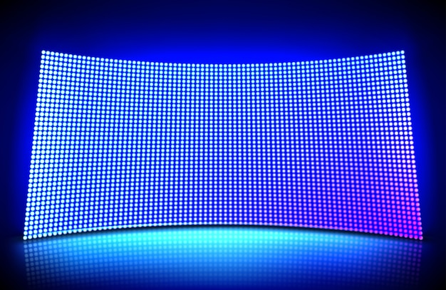 凹型のウォールビデオスクリーンは、青と紫のドットライトが光ります。スタジアムやシーンのledディスプレイのグリッドパターンのイラスト。ダイオードランプのメッシュが付いている湾曲したデジタルパネル