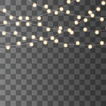 クリスマスライトは、透明な背景に分離されました。クリスマス輝く花輪。 ledランプ。