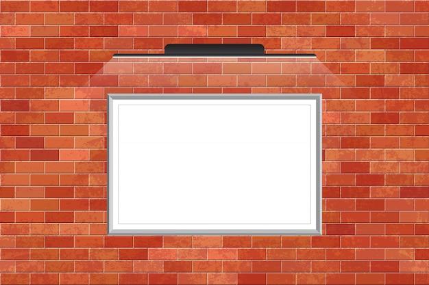 レンガの壁にledライトと黒板