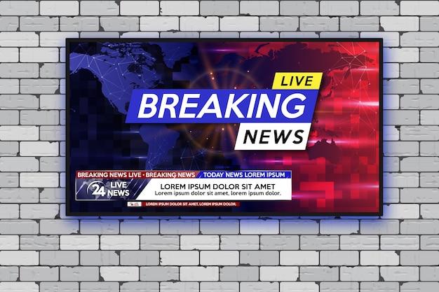 最新ニュースリアルなテレビ画面灰色のレンガの壁にモダンなledテレビ。