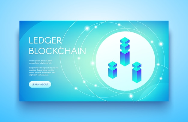 Ledger blockchain illustration for cryptocurrency or ico and api technology.