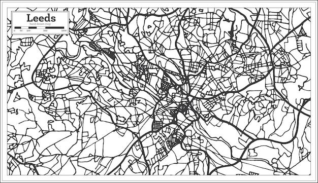 복고 스타일의 리즈 잉글랜드 도시 지도. 개요 지도. 벡터 일러스트 레이 션.
