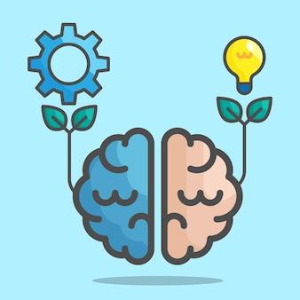 왼쪽과 오른쪽 인간의 두뇌 개념 벡터 일러스트 레이 션 평면 디자인