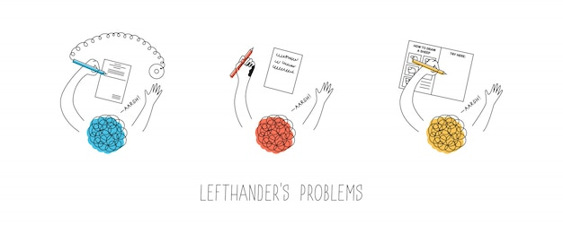 Left handed people problems. using pen with chain in a bank attached to the right, smudging the ink, drawing in step-by-step-tutorial books. international lefthanders day.  illustration
