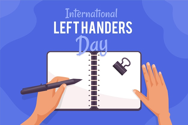 Left handers day concept with hand writing