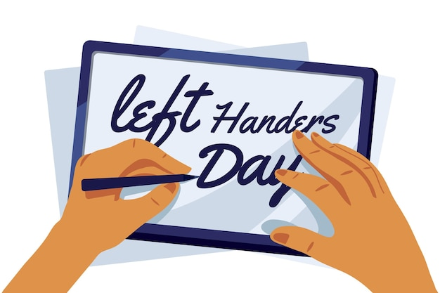 Left handers day concept with pen