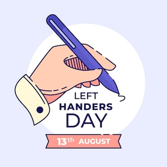 Left handers day flat design