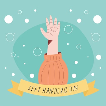 Left handers day frame with hand open