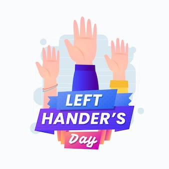 Left handers day illustration with hands