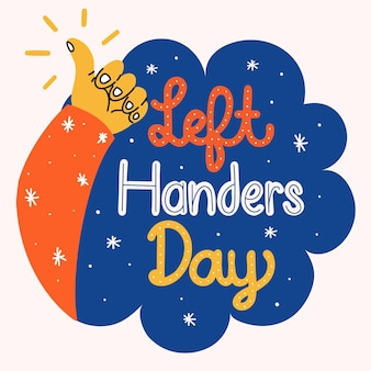 Left handers day lettering concept