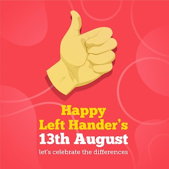 Left handers day with hand giving thumbs up