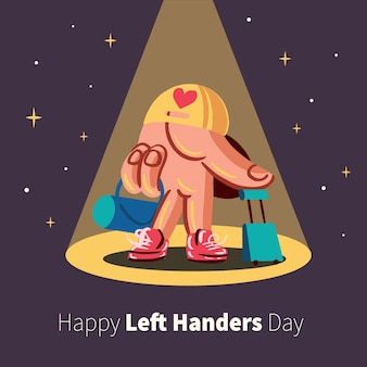 Left handers day with hand wearing shoes