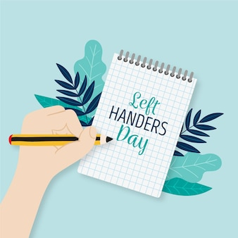 Left handers day with notebook