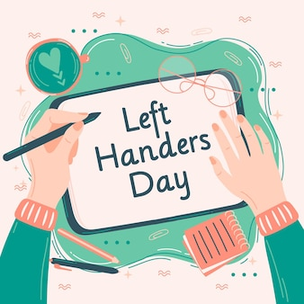 Left handers day with person writing