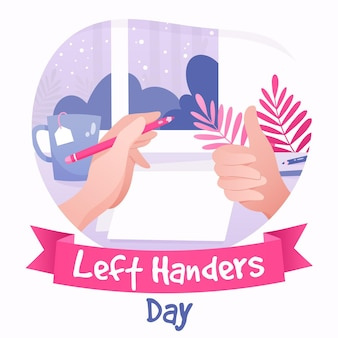 Left handers day with thumbs up and hand holding pen