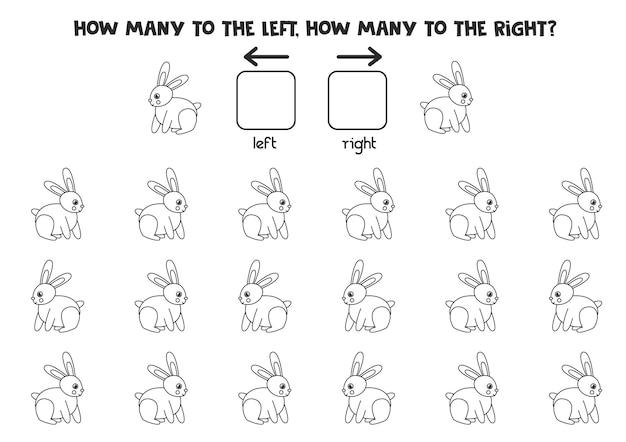 Слева или справа с черно-белым кроликом. логическая тетрадь для дошкольников.