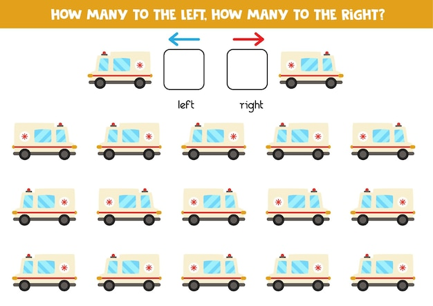 만화 구급차 자동차 왼쪽 또는 오른쪽. 좌우를 배우는 교육용 게임.